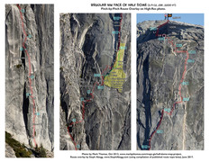 Rock Climbing Photo: Overlay of Regular NW Face on High Resolution Phot...