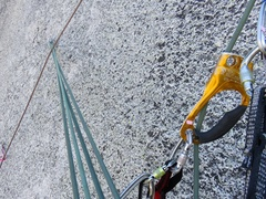 Rock Climbing Photo: (Pitch 12 after Rockfall.) A lower out while follo...