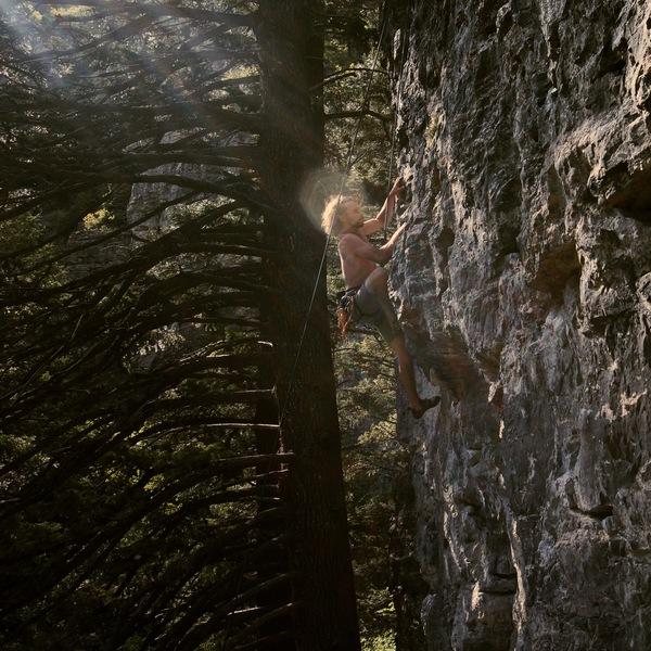 Rock Climbing Photo: Keir L.B. moving to the positive holds above the b...