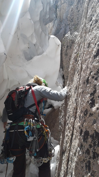 Rock Climbing Photo: June 29th, 2017.  Lots of snow at the base of the ...