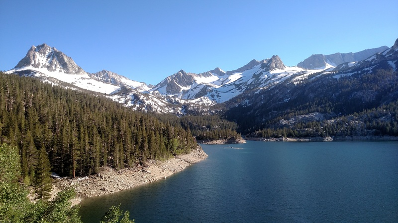 Epic view of South lake from Bishop pass trail on the way to Hurd.