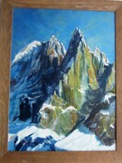 Rock Climbing Photo: Oil on Canvas . Auguille du Dru ... Painting by Bi...