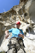 Rock Climbing Photo: Brian Smoot tying in to clean up The Drilling Fiel...