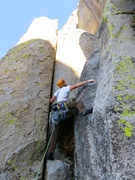 Rock Climbing Photo: Dow starting up Pitch 1. The start to the route ca...