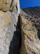 Rock Climbing Photo: Looking up the awesome dihedral. The dihedral iis ...