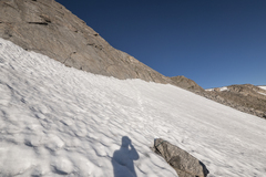 Rock Climbing Photo: Snow at the base of the climb.