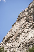 Rock Climbing Photo: Brian Smoot repelling from the top of Castle Rock