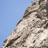 Brian Smoot repelling from the top of Castle Rock