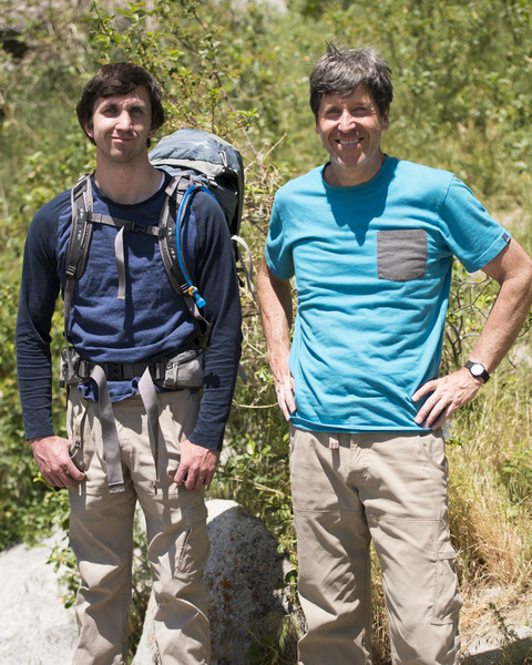 Ben Smoot (left) and Brian Smoot (right) gear up to head back home to Salt Lake after a great day of climbing with Kim Miller in Hostess Valley