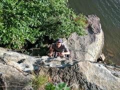 Rock Climbing Photo: Max warming up on Aztec Warrior