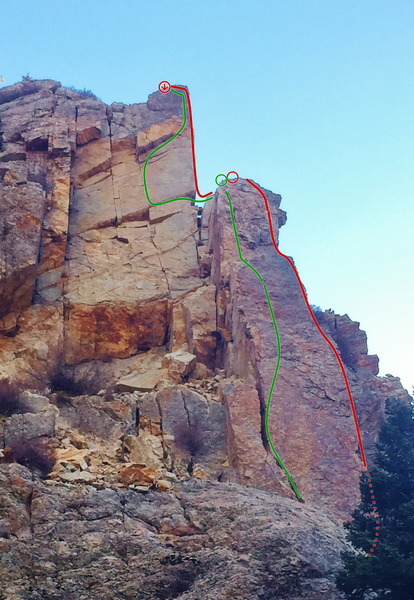 Rock Climbing Photo: Viewmaster Arête shown in Red.  Ridge with a View...
