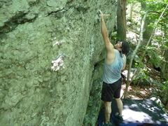 Rock Climbing Photo: The start hold is visible to the far left of Ed. I...