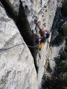 Rock Climbing Photo: Enjoying the knobs at the top of Pitch 1.
