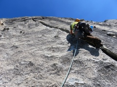 Rock Climbing Photo: Starting up the offwidth of Pitch 2.