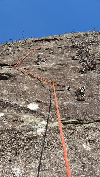 Rock Climbing Photo: Looking up pitch 2, the crux pitch