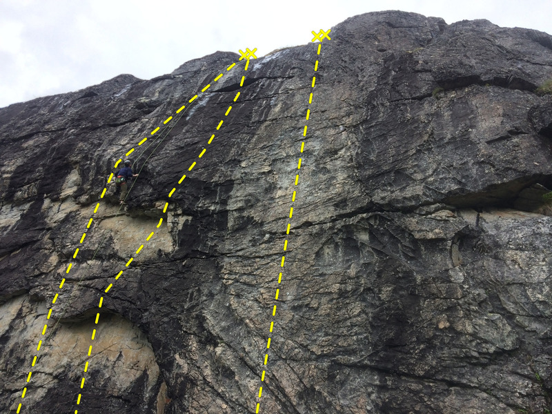 Follows the lightest colored streak of rock.  Guy toproping is climbing between Mauled & BM.