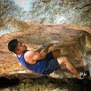 Rock Climbing Photo: Phil Chai sending Bunion Blow.