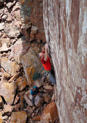 Rock Climbing Photo: Sinners Last Gift. Difficult moves right off the d...