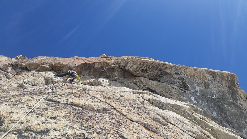 Slab before the crux roof on pitch 3