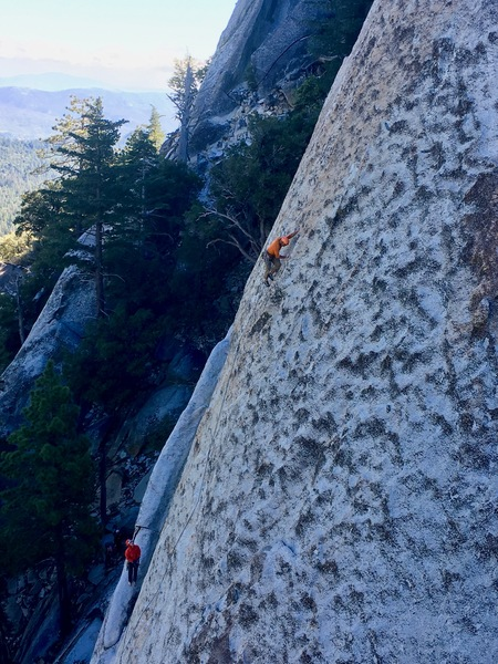 Amir (leading) and myself on the 2nd pitch of Valhalla.  Taken by a nice fellow from the top of Insomnia.<br> <br> Such a beautiful, featured slab!