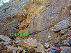 Recently, a large chunk of the overhang went bye-bye. The nice belay spots below are mostly covered with rubble now.