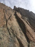 Rock Climbing Photo: Looking up at the route from the start of the firs...