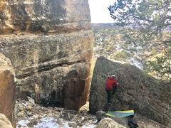 Rock Climbing Photo: Teri moving up the slab.