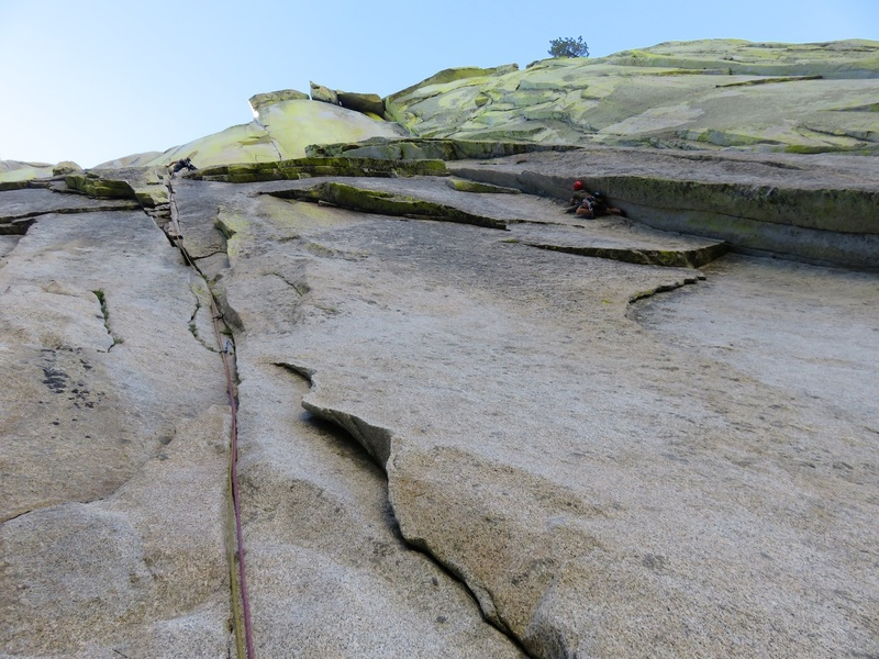 The crack on the left is Pitch 1 of Airy Interlude. The crack on the right is Pitch 1 of Igor Unchained. Both excellent routes to the top of The Witch.