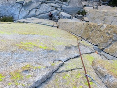 Rock Climbing Photo: Looking down while climbing Pitch 2 of Airy Interl...