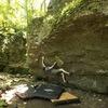 Noah climbing Lukewarm Sausage (V5)