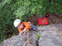 Rock Climbing Photo: Toprope rehearsal for sick highball send.