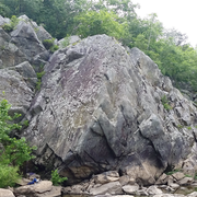 Little Bulge.  The obvious corner on the left is the edge of the crag. Grayish Face is 5 ft to the right of that corner. The large crack about 1/3 from the right of the picture is The Black Bulge.