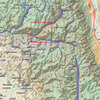 The Kern River cuts a canyon straight south for 30 miles to pass below The Needles. To the north, separated from the sources of the Kern by Mt. Erikkson and the Kings Kern Divide, the three mighty forks of the Kings River drain a huge area of the Sierra Nevada west of the Palisades Crest.