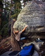 Rock Climbing Photo: Trevor Seck on the first ascent of the Rapture v9
