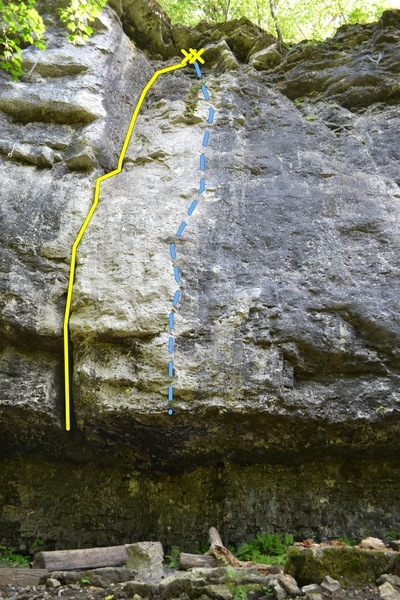 Nuts and Honey (A0 5.9) (yellow) and Trash Talk (5.11d) (blue)