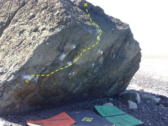 Rock Climbing Photo: The lava boulder. Great lines when dry and free of...