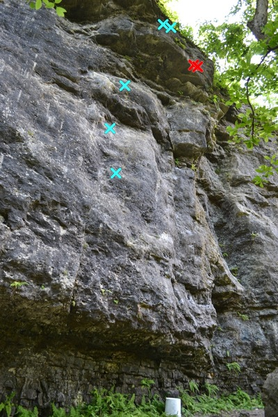 Trash Compactor (5.12 b/c) (blue) and anchors for Steve-O (5.11a) (red)