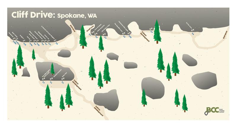 Cliff Drive in Spokane, WA Topo Map