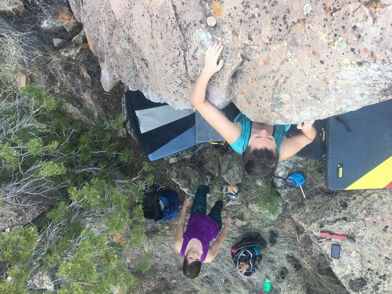 Rock Climbing Photo: Lela at the top out of You 666ed It.