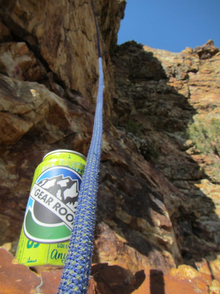 Cheers guys!  (Found at the base of the fixed rope used for cleaning the route.  That's Uinta Hop Nosh by the way.)