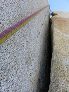 Rock Climbing Photo: Short but powerful offwidth at the start of Pitch ...
