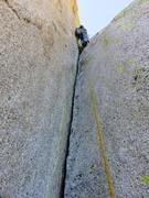Rock Climbing Photo: Final hand crack to below summit block (Pitch 8 fo...