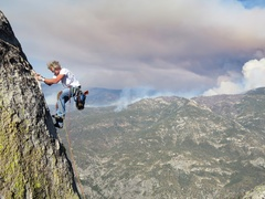 Rock Climbing Photo: Dow climbing the arete to the top of the Main Summ...