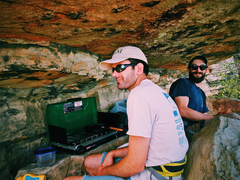 Rock Climbing Photo: Ben and Alex grilling dogs on the High Exposure le...