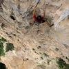 "Jorge Lassus enjoying a wild ride on ""Arete Murcielago"" Bat Arete on The River Wall in Ciales, Puerto Rico."