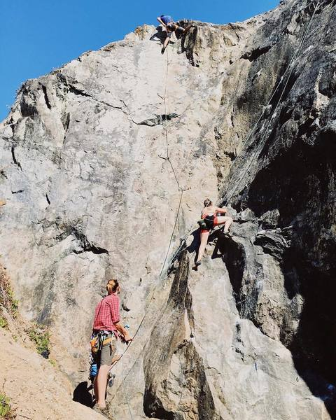 Rock Climbing Photo: Leading Left Slab (left) and Top Roping Walkin' a ...