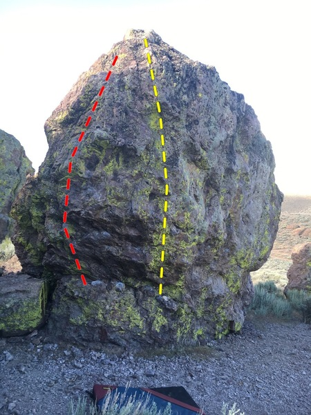 Rock Climbing Photo: Dyno-Saur V2 (yellow) and The Prow V2 (red)
