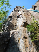 Rock Climbing Photo: Angela on TR.  You can see pitch 2 of Papyrus on t...