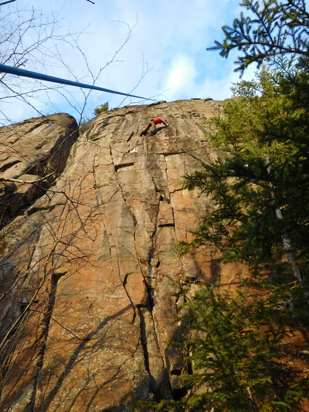 Rock Climbing Photo: Carter working Origami before the bolts were insta...