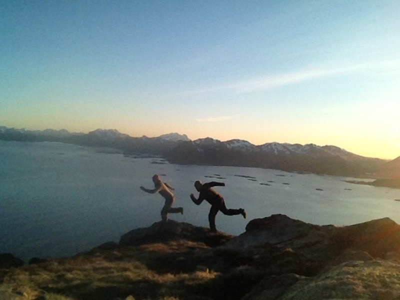 At the top of Vestpillaren, Presten in Lofoten